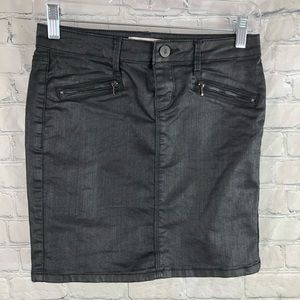 Dex Black Wax Coated Denim Mini Skirt